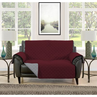 Loveseat Slipcover Upholstery: Burgundy/Gray