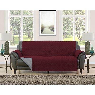 Sofa Slipcover Upholstery: Burgundy/Gray