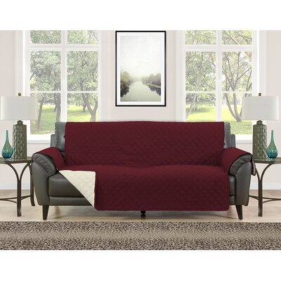 Sofa Slipcover Upholstery: Burgundy/Cream