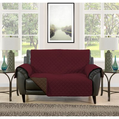 Loveseat Slipcover Upholstery: Burgundy/Brown
