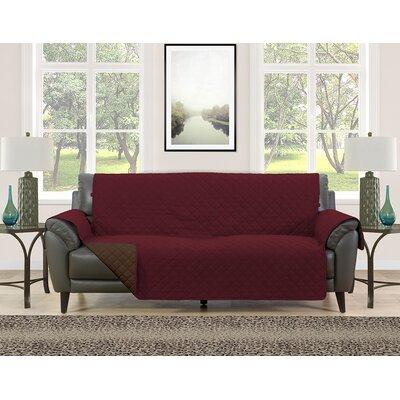Sofa Slipcover Upholstery: Burgundy/Brown