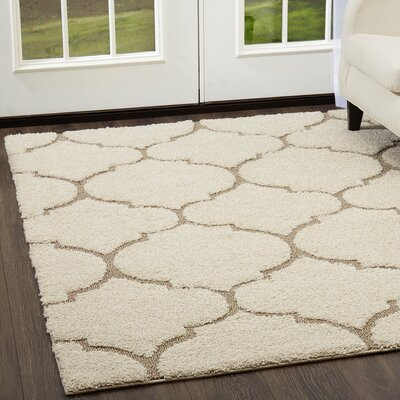 Kalinowski Trellis Shag Cream/Beige Area Rug Rug Size: Rectangle 52 x 72
