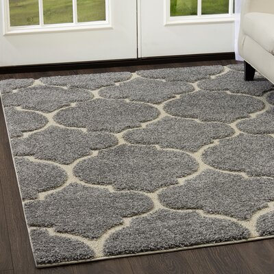 Kalinowski Trellis Shag Gray/Cream Area Rug Rug Size: Rectangle 710 x 102