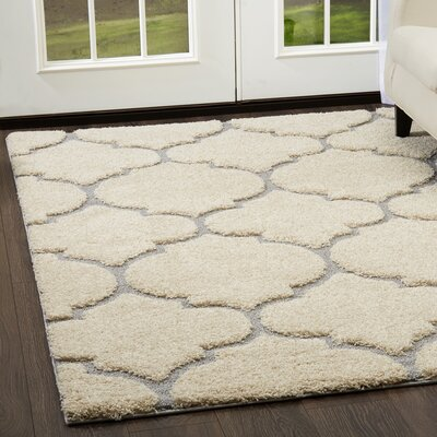 Canyon Trellis Shag Gray/Cream Area Rug Rug Size: Rectangle 52 x 72