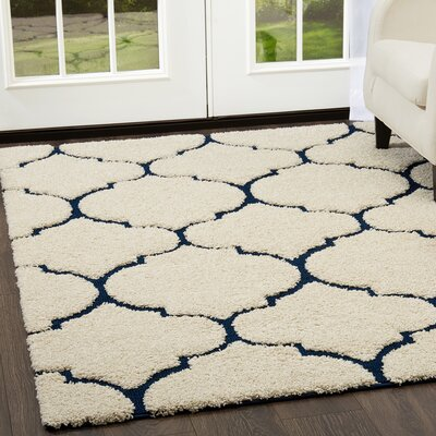 Kalinowski Trellis Shag Cream Area Rug Rug Size: Rectangle 27 x 47