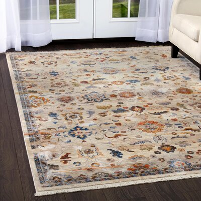 Kalish Distressed Floral Ivory Area Rug Rug Size: Rectangle 33 x 52
