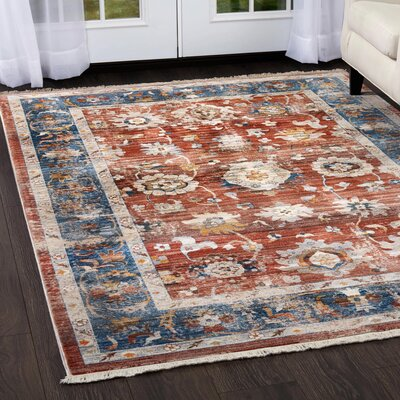 Kalish Border Red/Blue Area Rug Rug Size: Rectangle 53 x 77
