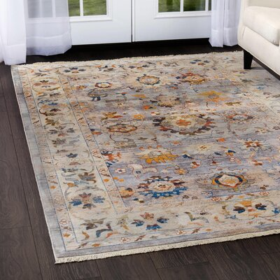 Kalish Border Gray/Ivory Area Rug Rug Size: Rectangle 27 x 42