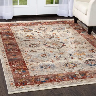 Kalish Border Ivory/Red Area Rug Rug Size: Rectangle 27 x 42