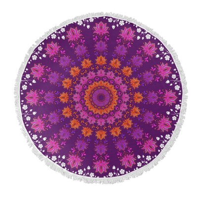 Floral Round Beach Towel Color: Pink