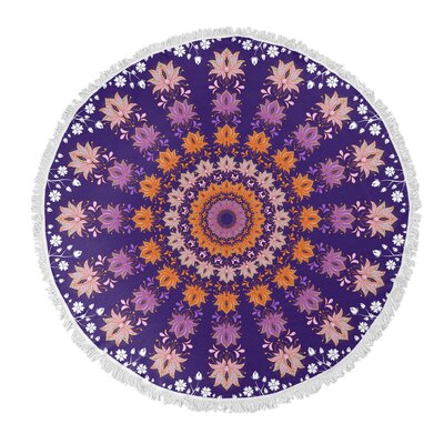 Floral Round Beach Towel Color: Purple