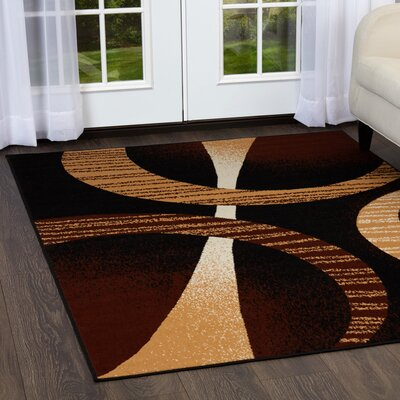 Simona Modern Black Area Rug Rug Size: Rectangle 78 x 107