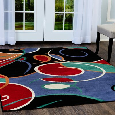 Simona Modern Swirls Blue Area Rug Rug Size: Rectangle 37 x 52