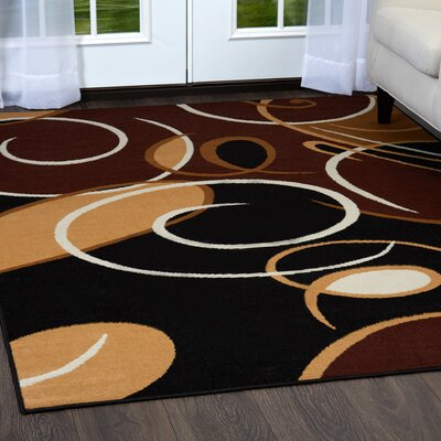 Simona Modern Swirls Black Area Rug Rug Size: Rectangle 37 x 52