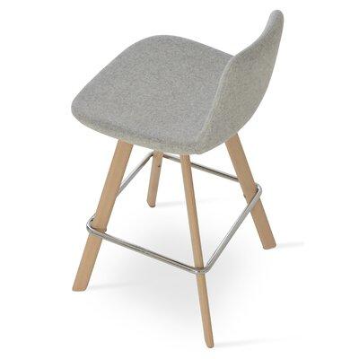 Pera 29 Bar Stool Color: Ash Wood Natural, Upholstery Color: Silver Camira Wool