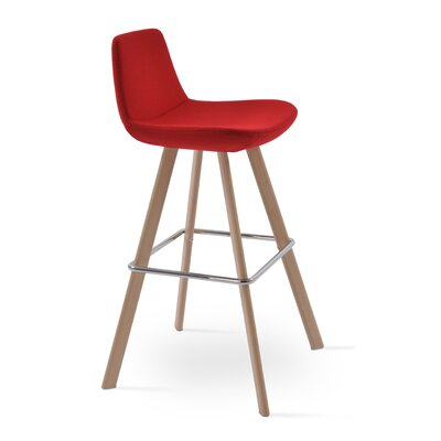 Pera 24 Bar Stool Color: Ash Wood Natural, Upholstery Color: Red Camira Wool
