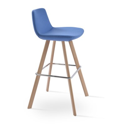 Pera 24 Bar Stool Color: Ash Wood Natural, Upholstery Color: Sky Blue Camira Wool