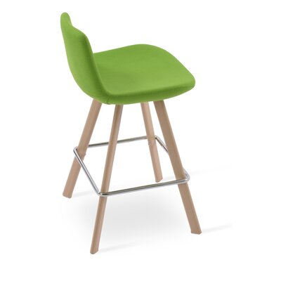 Pera 24 Bar Stool Color: Ash Wood Natural, Upholstery Color: Pistachio Camira Wool