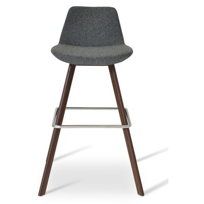 Pera 29 Bar Stool Color: Walnut, Upholstery Color: Dark Gray Camira Wool