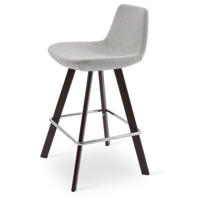 Pera 29 Bar Stool Color: Walnut, Upholstery Color: Silver Camira Wool