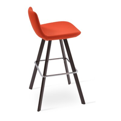 Pera 24 Bar Stool Color: Walnut, Upholstery Color: Orange Camira Wool