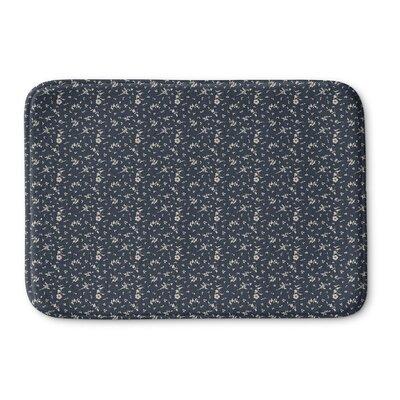 Legros Floral Memory Foam Bath Rug Size: 36 L x 24 W, Color: Navy