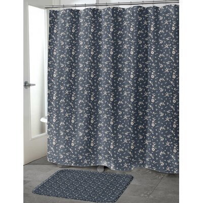 Tomberlin Shower Curtain Color: Navy, Size: 70 H x 72 W