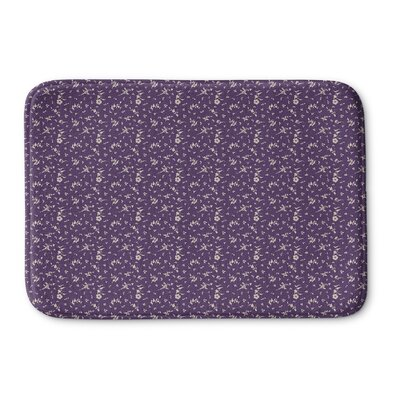 Legros Floral Memory Foam Bath Rug Size: 24 L x 17 W, Color: Purple