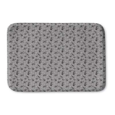 Legros Floral Memory Foam Bath Rug Size: 24 L x 17 W, Color: Gray