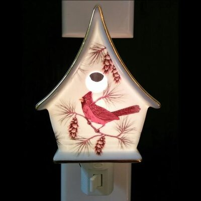 Cardinal on Birdhouse Night Light