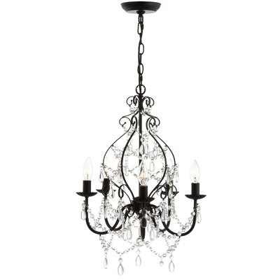 Minix Crystal/Metal 5-Light Candle-Style Chandelier