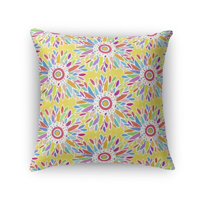 Kellswater Floral Throw Pillow Color: Yellow, Size: 16 x 16