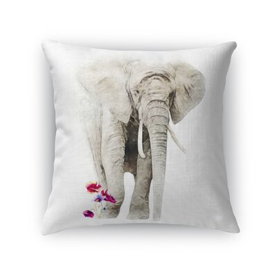 Babbitt Elephant Flowers Throw Pillow Size: 18 x 18