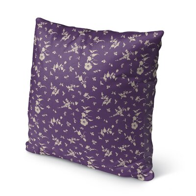 Tomberlin Floral Indoor/Outdoor Throw Pillow Size: 18 x 18, Color: Purple/Cream