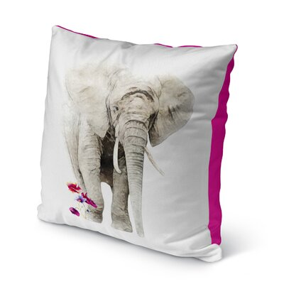 Babbitt Elephant Flowers Indoor/Outdoor Throw Pillow Size: 26 x 26