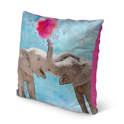 Babbitt Elephant Friendship Indoor/Outdoor Throw Pillow Size: 26 x 26