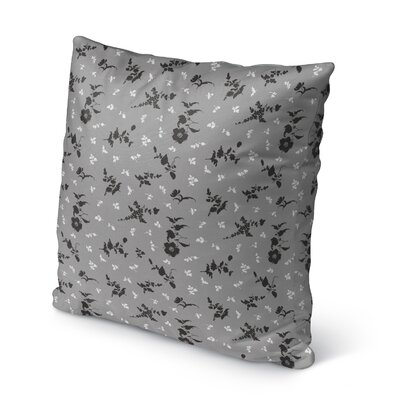 Tomberlin Floral Indoor/Outdoor Throw Pillow Size: 26 x 26, Color: Gray/Black