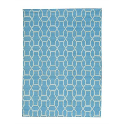 Reversible Oriental Flat Weave Kilim Hand-Knotted Cotton Blue Area Rug Rug Size: Rectangle 54 x 73