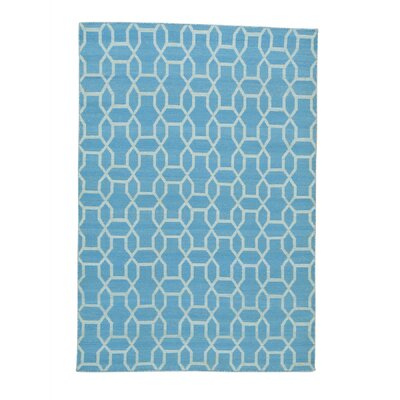 Reversible Oriental Flat Weave Kilim Hand-Knotted Cotton Blue Area Rug Rug Size: Rectangle 54 x 79