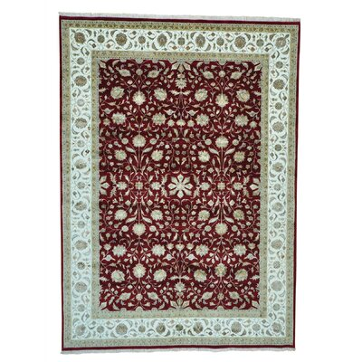 One-of-a-Kind Salzer Half and Half 300 KPSI Hand-Knotted Silk Area Rug