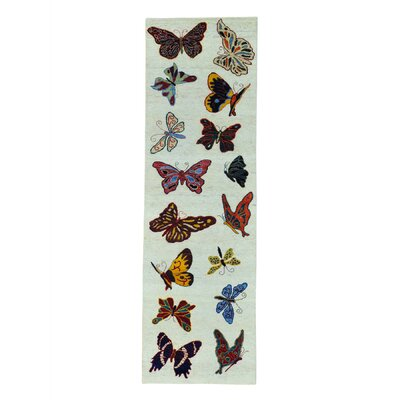 Butterflies of the Amazonas Hand-Knotted Ivory Area Rug