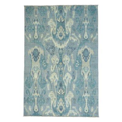 Ikat Uzbek Oriental Hand-Knotted Gray Area Rug