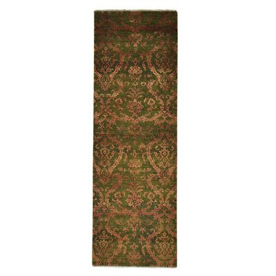 One-of-a-Kind Walsall Damask Tone on Tone Hand-Knotted Silk Area Rug