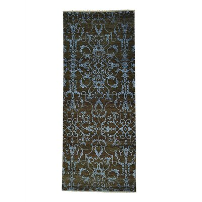 Damask Tone on Tone Oriental Hand-Knotted Silk Green Area Rug