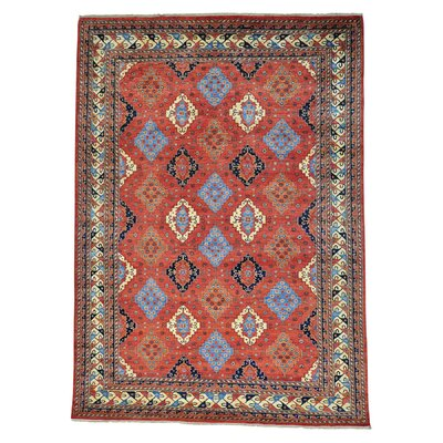 Afghan Ersari Geometric All Over Hand-Knotted Red Area Rug