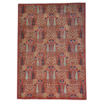 Willow and Cypress Hand-Knotted Red Area Rug
