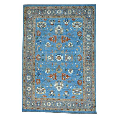 Afghan Ersari Natural Dyes Hand-Knotted Blue Area Rug