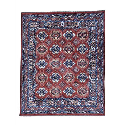 Afghan Ersari Repetitive Oriental Hand-Knotted Red Area Rug