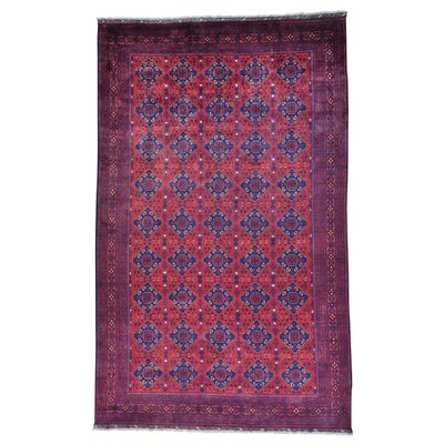 Afghan Khamyab Vegetable Dyes Hand-Knotted Red Area Rug