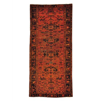 Overdyed Hamadan Hand-Knotted Orange Area Rug